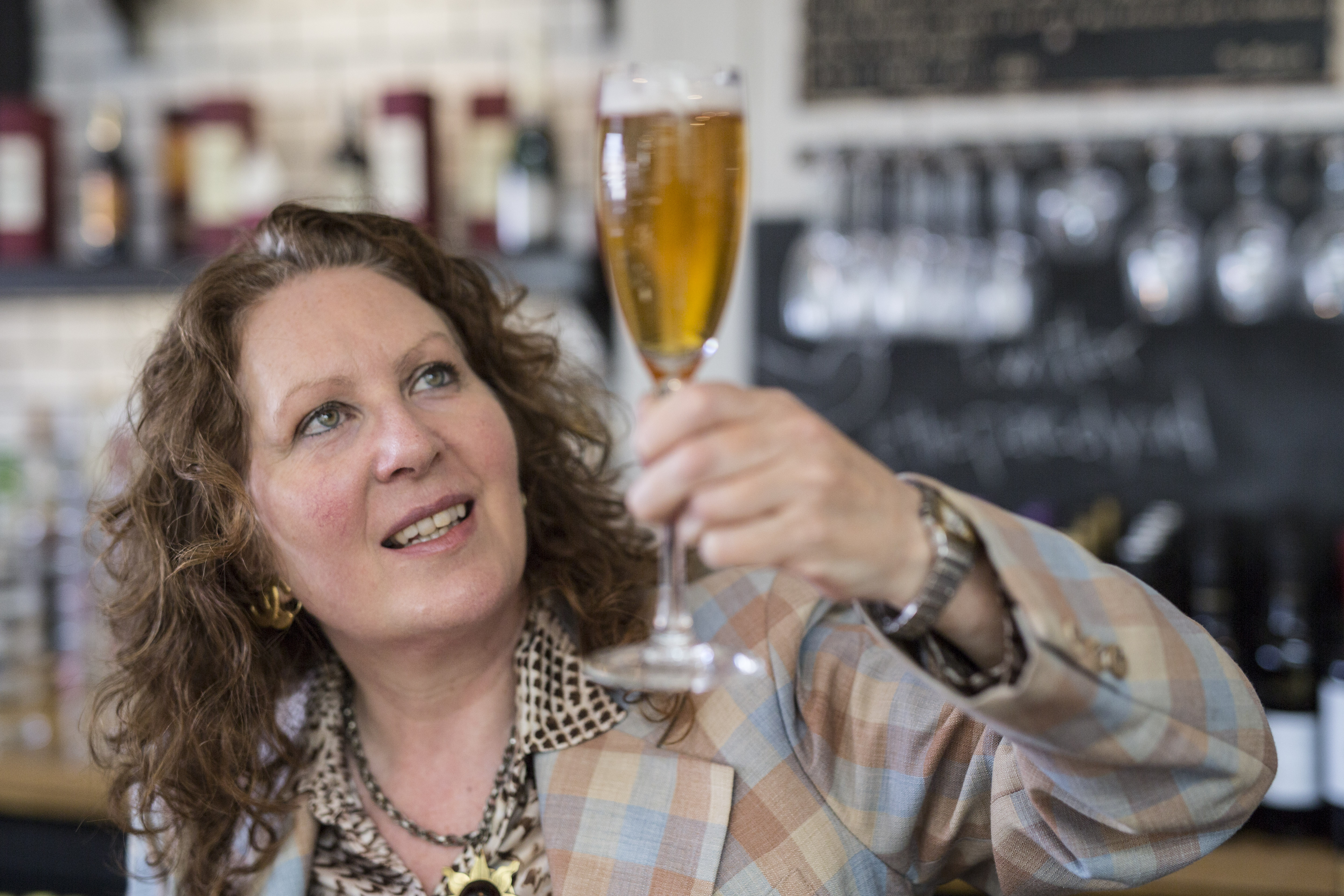 Women avoid pint glasses, London - 08 June 2015